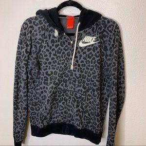 Nike Black/Gray Rally Cheetah Print Zip Up Hoodie